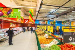 GALATI, ROMANIA - NOVEMBER 11: Photos at Hypermarket Carrefour grand oppening in Galati, Romania on November 21, 2013.